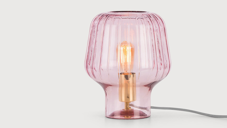 Ewer table lamp in blush pink and polished brass