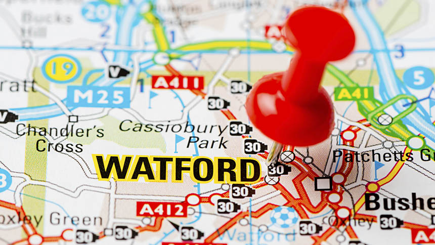 Watford on map