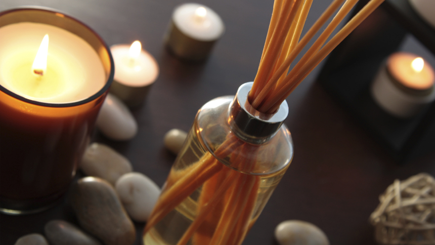 Candles and diffusers create a homely scent