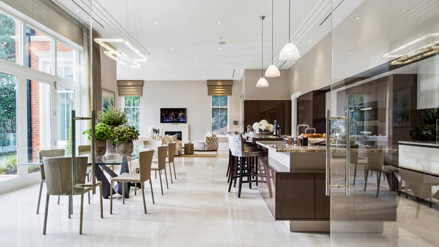 Falconwood House open-plan kitchen/dining area