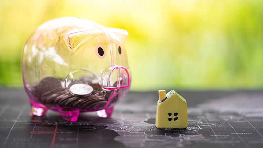 Piggy bank and model house